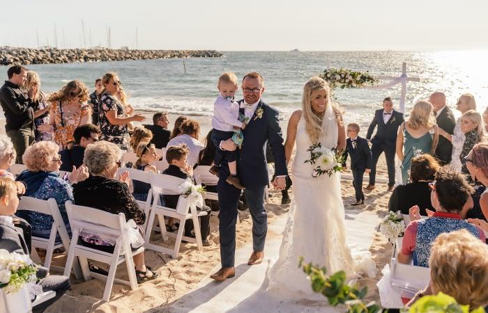 Beach Wedding Exit: Joyce Mathers Celebrant