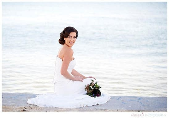 Portrait of Bride bt the Sea| Anthea Kirkman Wedding Photographer